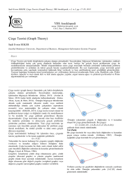 Çizge Teorisi (Graph Theory) , 17 – 29