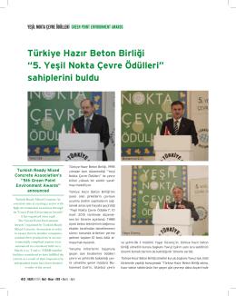 """Türkiye Hazır Beton Birliği """"5. Yeşil Nokta Çevre Ödülleri"""" sahiplerini"""