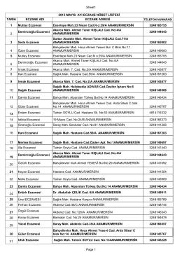 Sheet1 Page 1 2015 MAYIS AYI ECZANE NÖBET LİSTESİ TARİH