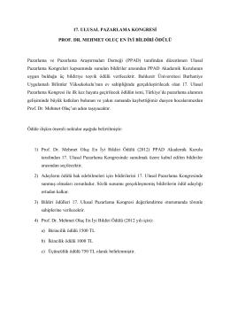 17. ULUSAL PAZARLAMA KONGRESİ PROF. DR. MEHMET OLUÇ