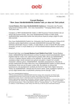 """""""Dow Jones Sürdürülebilirlik Endeksi""""nde yer alan tek Türk şirketi"""