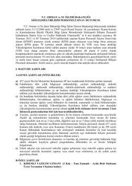 T.C. ORMAN ve SU İŞLERİ BAKANLIĞI SÖZLEŞMELİ BİLİŞİM
