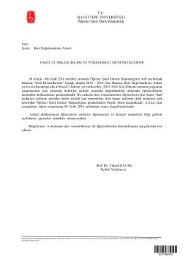 T.C. HACETTEPE ÜNİVERSİTESİ Öğrenci İşleri Daire Başkanlığı