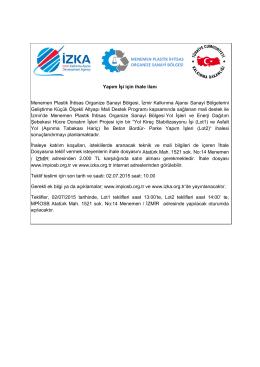 Yapım İşi için ihale ilanı Menemen Plastik İhtisas Organize Sanayi