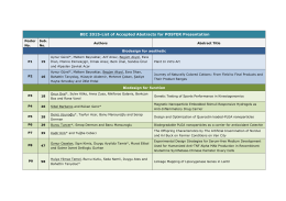 BEC 2015-List of Accepted Abstracts for POSTER Presentation