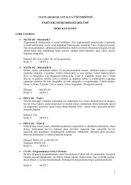 Ders İçerikleri - Uluslararası Antalya Üniversitesi