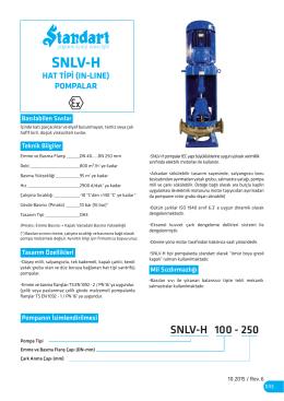 SNLV-H - Hat Tipi (In-Line) Santrifüj Pompalar