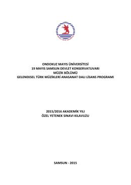ondokuz mayıs üniversitesi 19 mayıs samsun devlet konservatuvarı