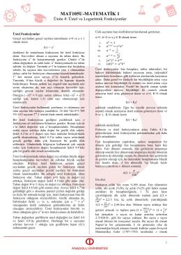 AÖF Matematik I – Ünite 4 Üstel ve Logaritmik Fonksiyonlar