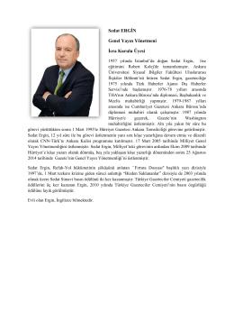 Sedat ERGİN Genel Yayın Yönetmeni İcra Kurulu Üyesi