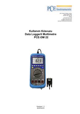 Kullanım Kılavuzu Data Loggerli Multimetre PCE