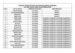 2014-2015 eğitim öğretim yılı bahar dönemi