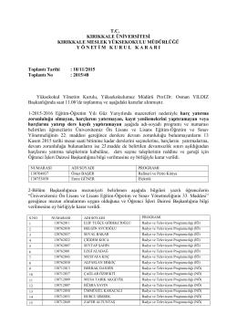 18.11.2015 Tarihli Yönetim Kurulu Kararı