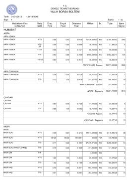 2015 yıllık bülten - Denizli Ticaret Borsası