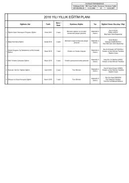 2016 yılı yıllık eğitim planı