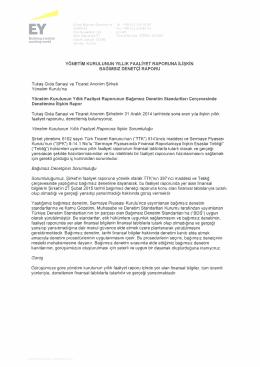 Yönetim Kurulunun Yıllık Faaliyet Raporuna ilişkin
