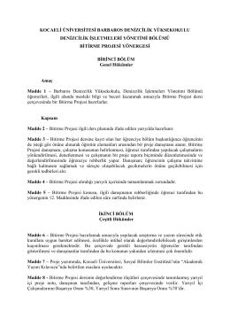 bitirme projesi formu - Yıldız Bilge Barbaros Denizcilik Yüksekokulu