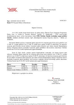 Yükseköğretim Kurulu Başkanlığının 01.04.2015 Tarihli Yürütme