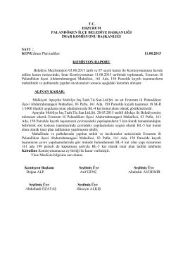 2015 Ağustos Ayı Meclis Komisyon Kararları