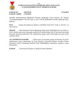 27.04.2015 Tarihli UKOME gündem ve kararları