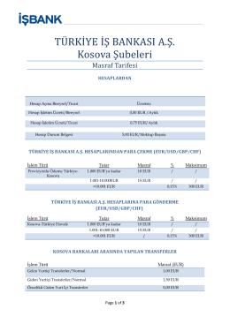 TÜ RKİ YE İ Ş BANKASİ A.Ş. Kosova Şubeleri