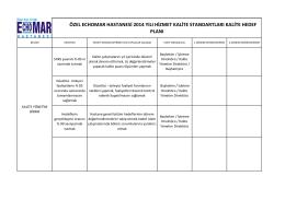 2014 kalite yönetim hedef planı