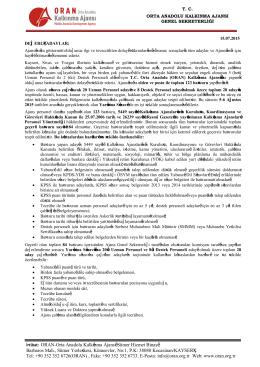 İrtibat: ORAN-Orta Anadolu Kalkınma Ajansı Sümer Hizmet Binası
