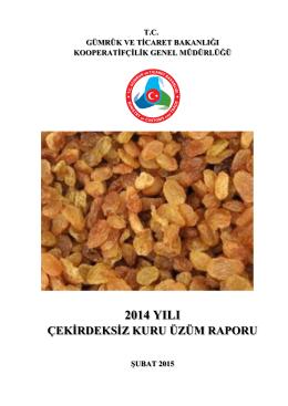 2014 Yılı Üzüm Raporu - Gümrük ve Ticaret Bakanlığı Kooperatifçilik