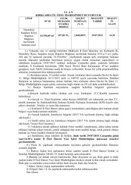 İ L A N  KIRKLARELİ İL ÖZEL İDARESİNDEN DUYURULUR. 1