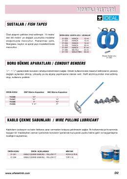 sustalar / fısh tapes boru bükme aparatları / conduıt benders kablo