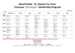 """21. Haşmet Tur Tenis Turnuvası """"Kesinleşen"""" Günlük Maç Programı"""
