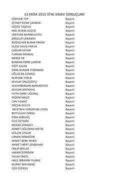 13 ekim 2015 staj sınav sonuçları