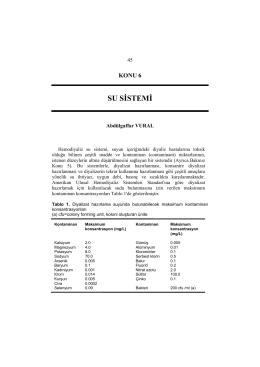 SU SİSTEMİ - Türk Nefroloji Derneği