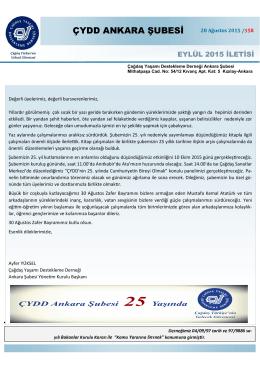 Eylül 2015 iletisi - ÇYDD Ankara Şubesi