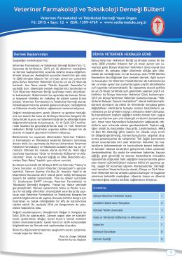 Bülten 12. sayı - Veteriner Farmakoloji ve Toksikoloji Derneği.