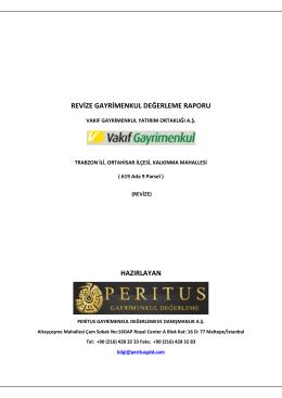 trabzon rapor peritus - Vakıf Gayrimenkul Yatırım Ortaklığı