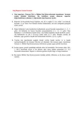 Staj Raporu Yazım Formatı 1. Staj raporları, Yönerge Eki ve Bölüm