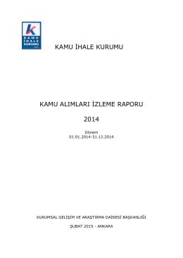 kamu ihale kurumu kamu alımları izleme raporu 2014