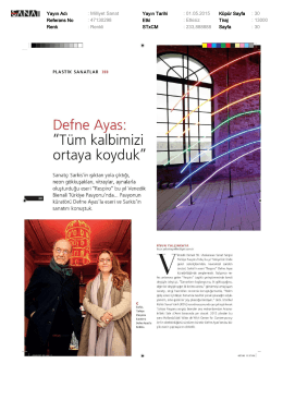 Yayın Adı : Milliyet Sanat Yayın Tarihi : 01.05.2015 Küpür Sayfa : 30