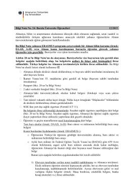 Bilgi Notu No. 24: Burslu Üniversite Öğrencileri 12/2015 Almanya