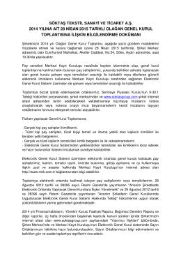 2014 yılı Olağan Genel Kurul Bilgilendirme Dokümanı