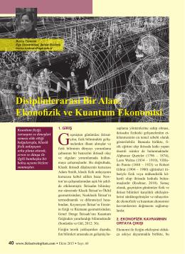 Disiplinlerarası Bir Alan: Ekonofizik ve Kuantum Ekonomisi