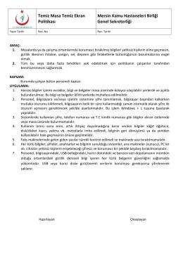 Temiz Masa Temiz Ekran Politikası Mersin Kamu Hastaneleri Birliği