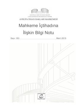 Mahkeme İçtihadına İlişkin Bilgi Notu Sayı. 183 (Mart 2015)