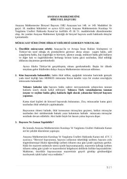 ANAYASA MAHKEMESİNE BİREYSEL BAŞVURU Anayasa