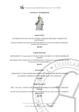 İçindekiler - Uluslararası Türkçe Edebiyat Kültür Eğitim Dergisi