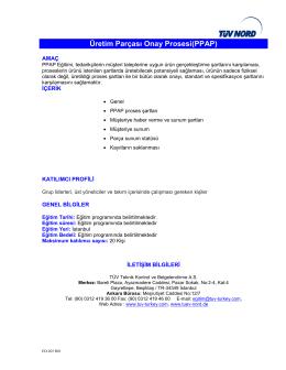 Üretim Parçası Onay Prosesi(PPAP)