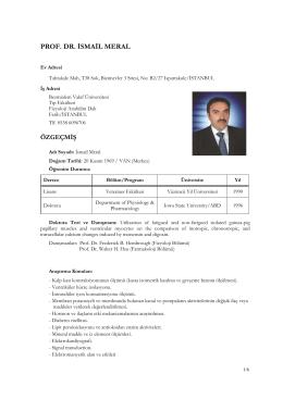 Akademik CV - FSMVU | İsmail MERAL