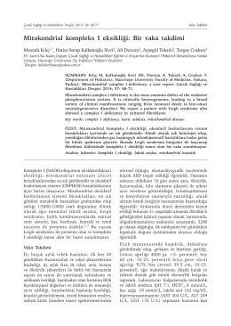Mitokondrial kompleks I eksikliği: Bir vaka takdimi