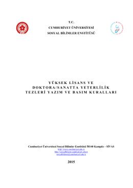 Tez Yazım ve Basım Kuralları Yönergesi